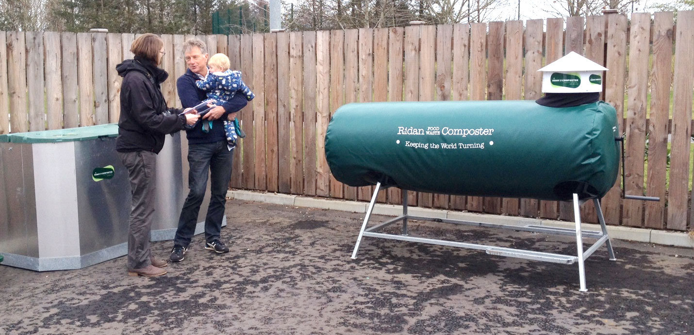 Dan Welburn with a Ridan Food Waste Composter
